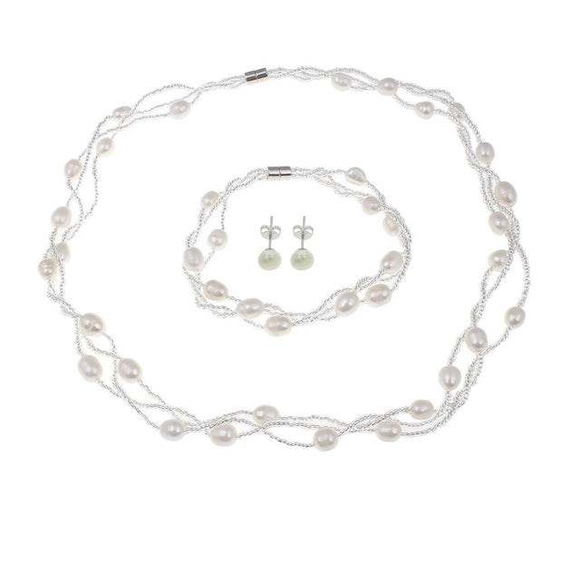 White freshwater pearl jewellery set