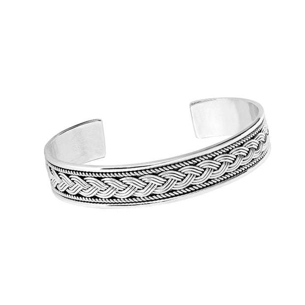 Sterling Silver Bordered Braid Bangle