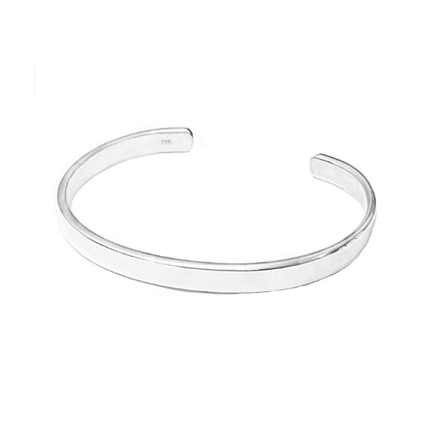 6mm Classic Plain Polished Silver Bangle