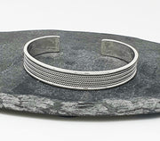men's woven silver bangle