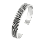 Classic Silver Bangle Solid 925 Sterling silver Braided Details