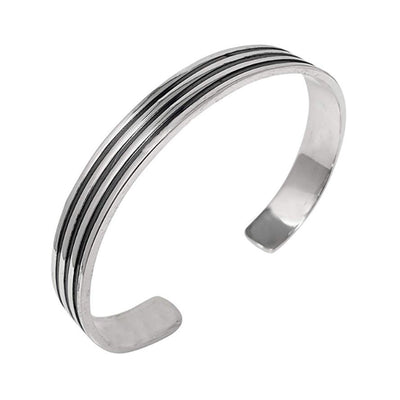 Men's Sterling Silver Triple Lines Bangle