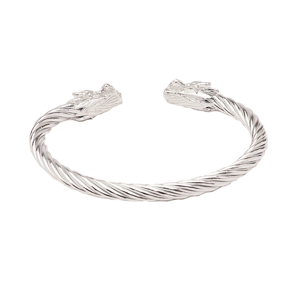 Men's Sterling Silver Bangle Bracelet with Dragon Design