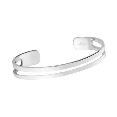 Solid 925 Sterling Silver Double Row Bangle