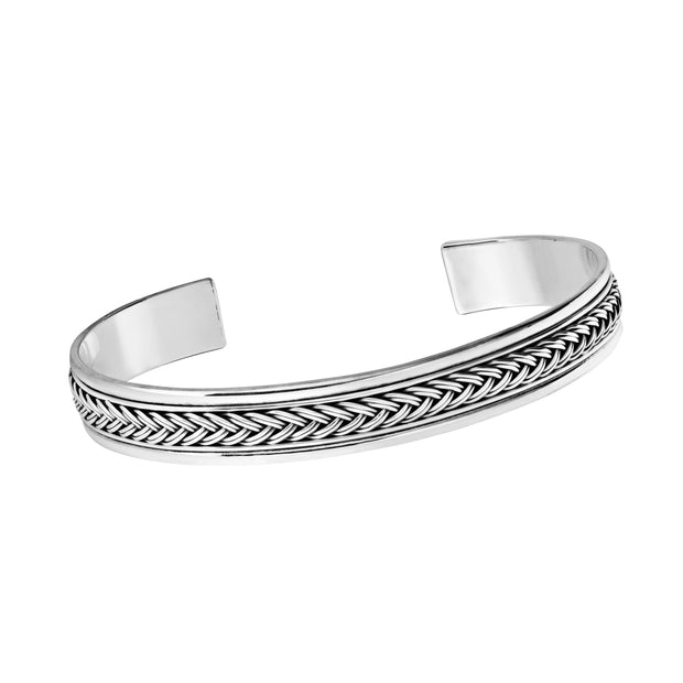 Braided Pattern Sterling Silver Bangle