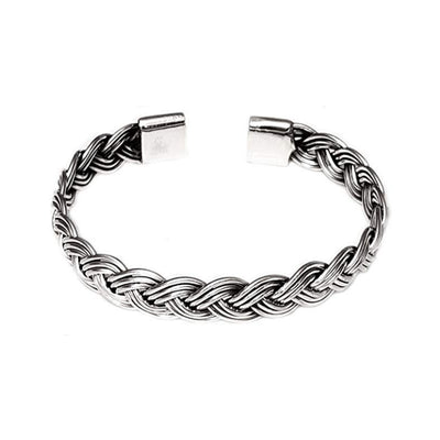 braided silver bangle for men