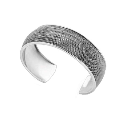 Iconic Silver Cuff Bangle with Fine Chains Inlay