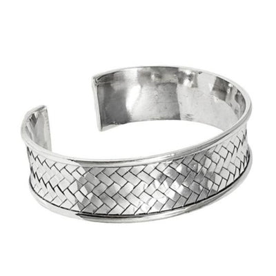 ladies woven silver bangle