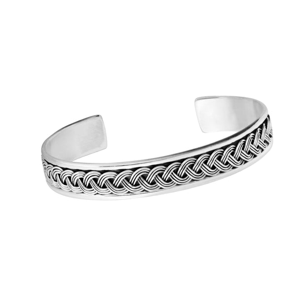 men's solid silver bangle bracelet