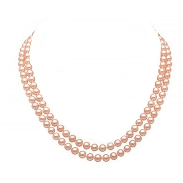 Handcrafted Two-row Natural Pink Freshwater Pearl Necklace