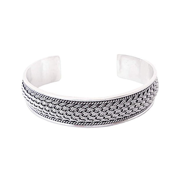 Heavy Sterling Silver Braided Bangle
