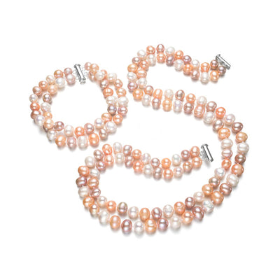 Multi colour pearl necklace set