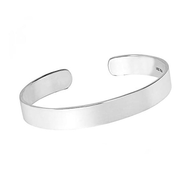 Mens plain silver torque bangle