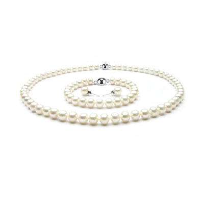 freshwater pearl necklace bracelet and earrings set