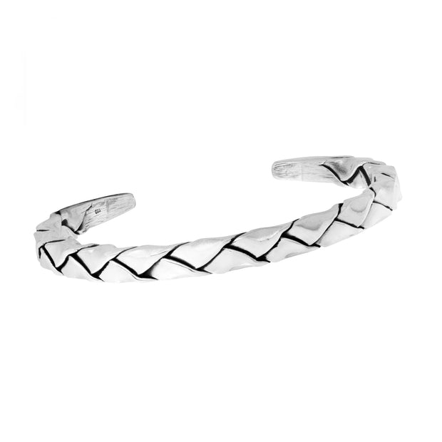 Men's torque silver bangle braided
