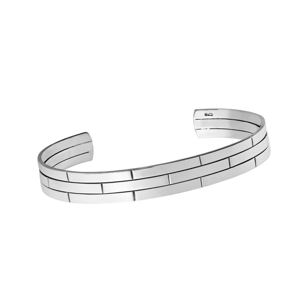 Grid Sterling Silver Bangle