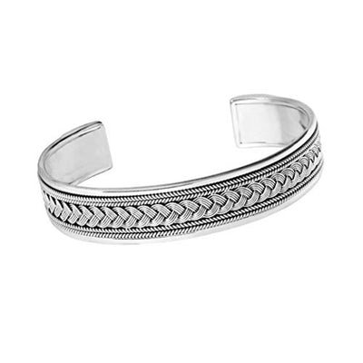 Heavy braided silver bangle for men