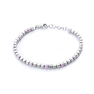 Sterling Silver and Pastel Pink Bead Bracelet
