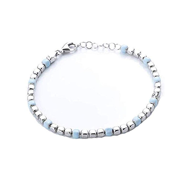 Sterling Silver and Pastel Blue Bead Bracelet