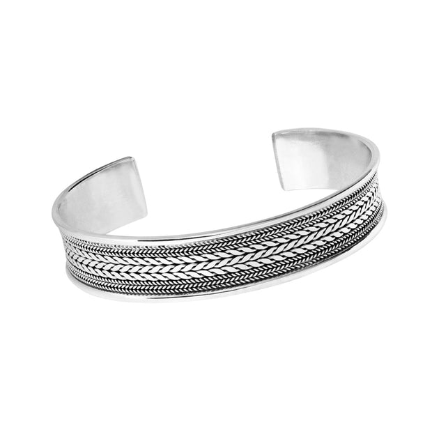 Solid Silver Chain Detailed Bangle