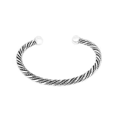 Sterling Silver Twist Braid Open Torque Bangle