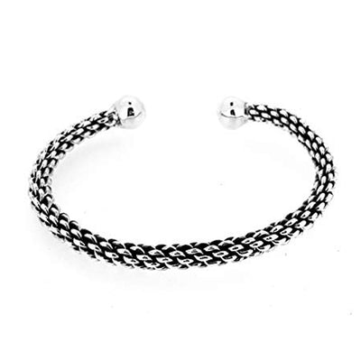 torque silver bangle for men