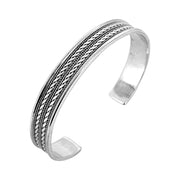 Mens Solid 925 Sterling Silver Bangle Bracelet