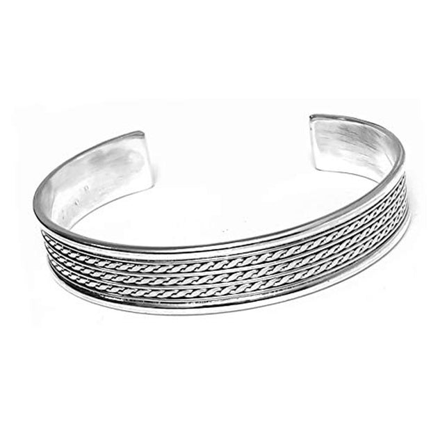 10mm Smooth Lines and Braided Bangle