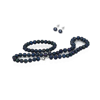 Women's black pearl set