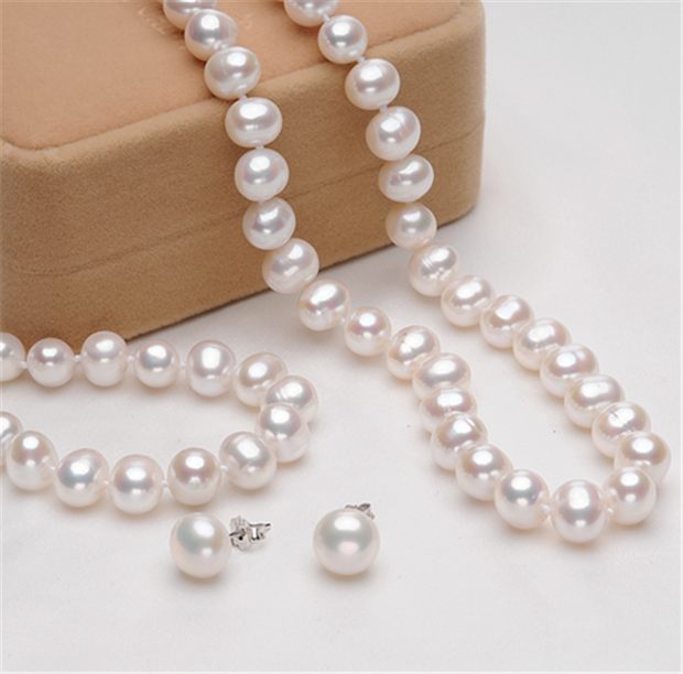 8mm AA Grade White Pearl Necklace, Bracelet and Earrings Set