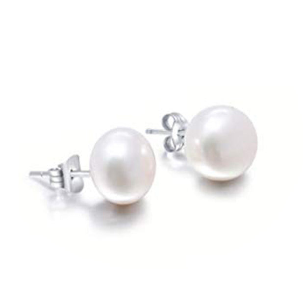 white pearl stud earrings for women