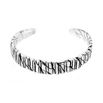 Grooved Solid Silver Cuff Bangle