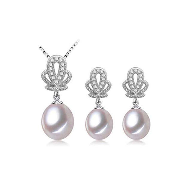 Freshwater Pearl Necklace and Earrings Jewellery Set