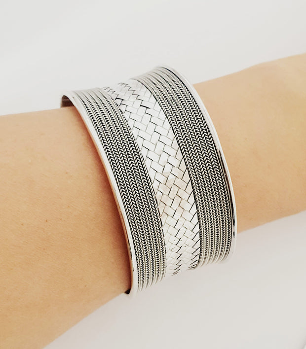 Sterling Silver Wide Braided Statement Cuff Bangle