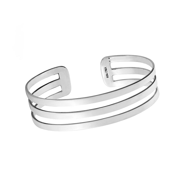 Classic Chunky Triple Row Sterling Silver Bangle