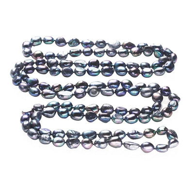 Black 9-10mm Baroque Pearl Necklace 120cm Long