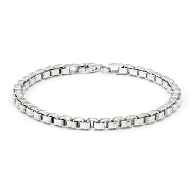women silver box chain bracelet