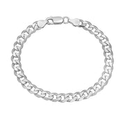 mens solid silver curb chain bracelet