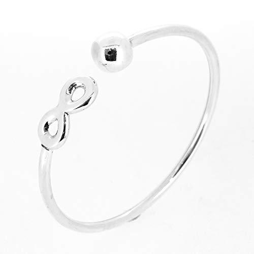 Infinity and Ball Sterling Silver Bangle