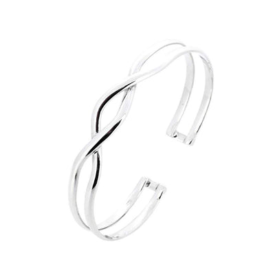 Iconic Double Bar Twist Silver Bangle