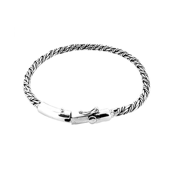 Solid Woven-Effect Silver Chain Bracelet
