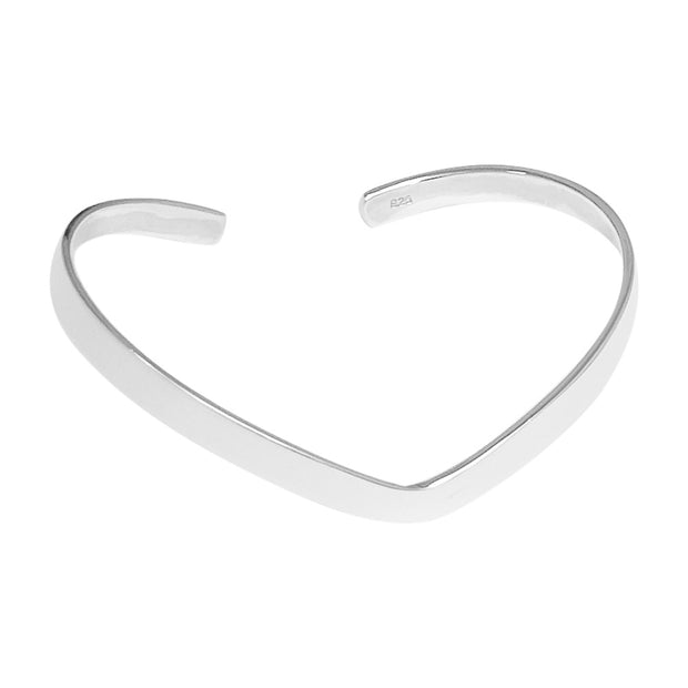 heart silver bangle for women