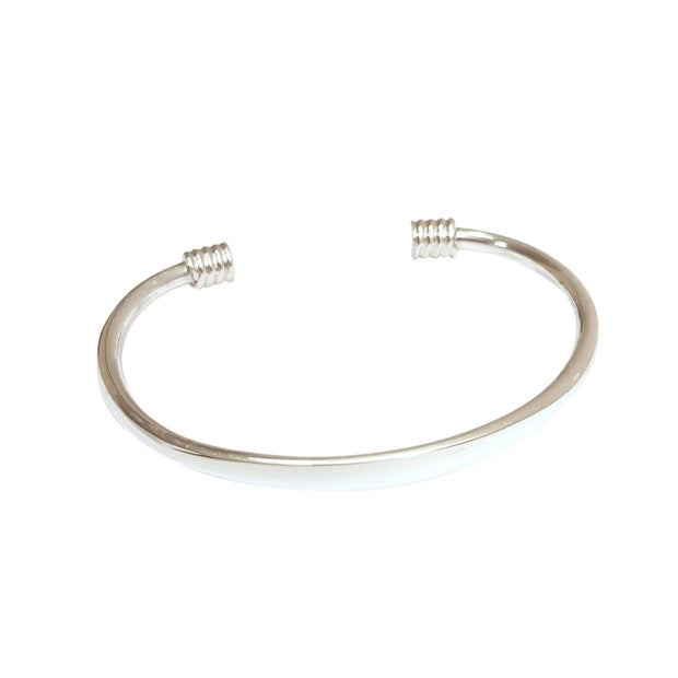 Barrel Twist Sterling Silver Open Cuff Bangle