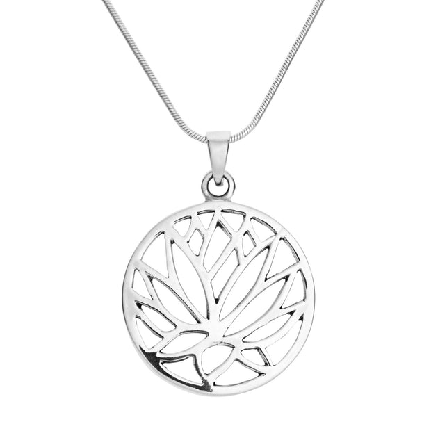 Silver Lotus Flower Pendant on Chain