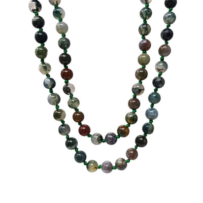8mm Natural Idian Agate Gemstone Necklace 120cm