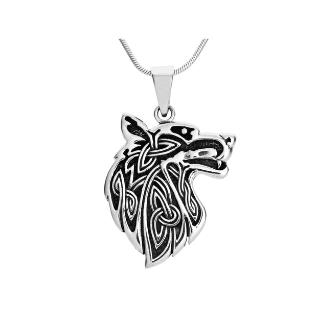 silver Wolf Pendant necklace for man