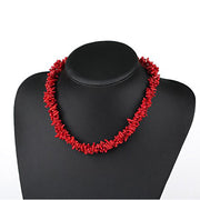 Two-strand Red Coral Branch Necklace