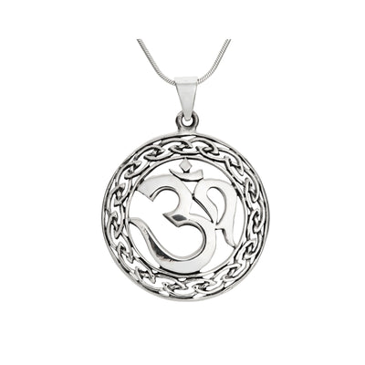 Sterling Silver Om Pendant with Chain