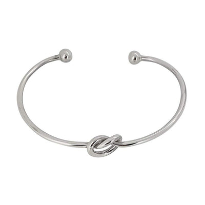 Sterling Silver Bangle with Love Knot Detailing