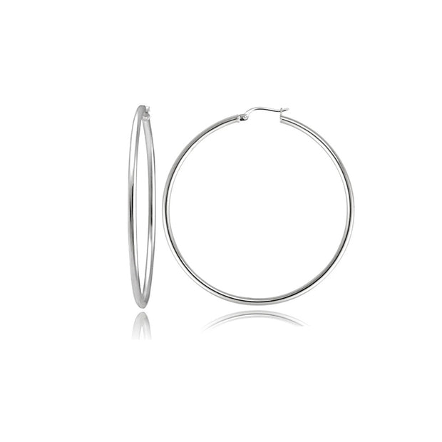 Round Tube Silver Hoop Earrings